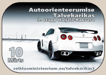 Autoorienteerumise Talvekarika 3. etapp - Rakvere 10.03.18